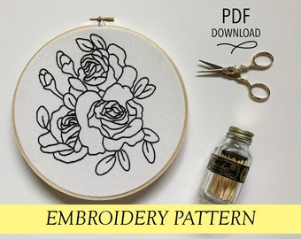 Three Black Roses pattern Hand embroidery modern embroidery guide stitching tutorial diy embroidery patterns and how to hoop art