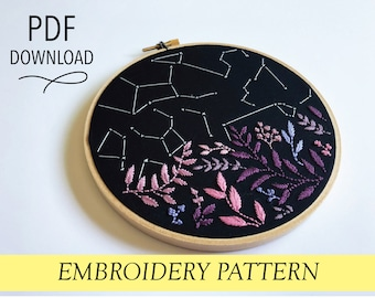 Stars and Wildflowers pattern Hand embroidery modern embroidery guide stitching tutorial diy embroidery patterns and how to hoop art flower