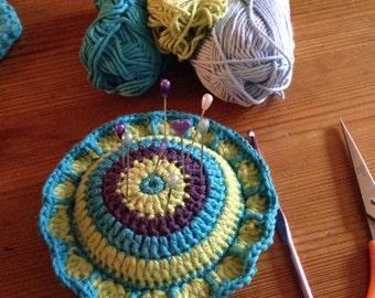 Crochet kaleidoscope Pin Cushion/ pin cushion/crochet pin cushion/ round pin cushion/ crochet  pin flower / Christmas gift/ crafty gift