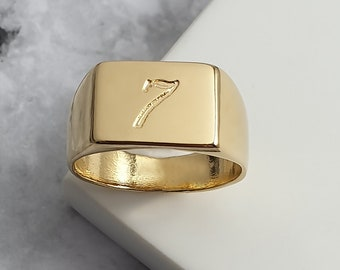 Men's signet ring, Custom engraved rectangle signet ring, Personalized men's pinky ring in sterling silver/ gold plated, Custom ring for dad