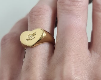 Heart signet ring for women, Engraved heart shaped pinky ring, Personalized monogrammed heart ring, Custom gold plated initial heart ring
