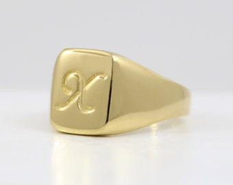 Men's pinky ring, Custom rectangle signet ring engraved with initial letter, Personalized letter ring for men, Male pinky ring, Ring for dad