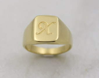Men's pinky ring, Custom rectangle signet ring engraved with initial letter, Personalized letter ring for men, Ring for dad, Male pinky ring