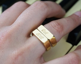 Stackable Name Ring, Initial Ring, Personalized Name Ring, Custom Name Ring, Signet ring, Mom Ring, Personalized ring, Gold engraved ring