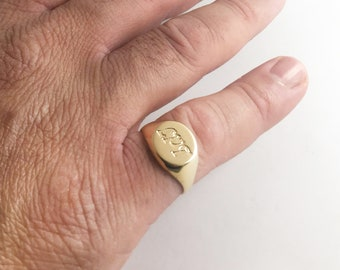 Men's pinky ring, Custom gold signet ring with initials, Personalized engraved ring for men