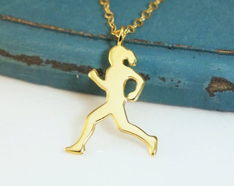 Running Lady Necklace, Athletes Necklace, Runner Necklace, Jogging Necklace, Olympic Jewelery, Marathon Necklace, Running Girl, Gift for Her