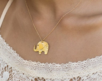 Elephant Necklace, Elephant jewelry, Elephant pendant, Elephant gift, Elephant charm, Gold pendant necklace, Animal necklace, Animal jewelry