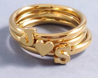 Girlfriend Gift, Valentine's Gift, Gold Letter Ring, Stackable Initial Ring, Custom Letter Ring, Gold Initial Ring, Custom Initial Ring