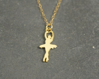 Ballerina Necklace, Gold Ballerina Necklace, Dancer Necklace, Ballet Necklace, Ballerina  Charm, Girl Gifts, Ballet Gift, Dance Jewelry