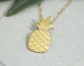 Pineapple Necklace, Gold Pineapple, Minimalist Necklace, Pineapple Jewelry, Fruit necklace, Summer necklace, Rose Gold Pineapple , Charm