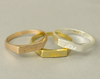 Promise Rings, Engraved Promise Rings, Personalized Rings For Couples, Couples Promise Rings, Engraved Gold Silver Ring, Stacking Rings Set