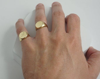 Signet ring for Men / Women with custom engraving, Custom pinky ring in Gold / Silver, Personalized initial ring