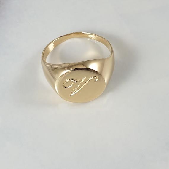 Solid 10k Rose Gold Engravable Rectangular Frame Face Signet Ring for Men Size 10.25