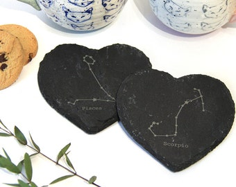 Set of His & Hers Coasters, Valentine's / Anniversary gift for couple, Star Signs Constellation, Zodiac
