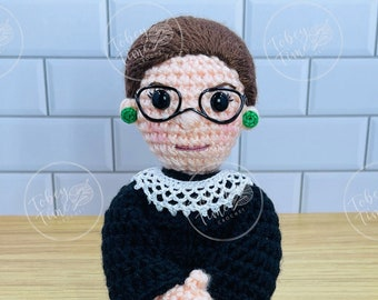 Pattern Ruth Bader Ginsburg Crochet Doll PDF Instand Download