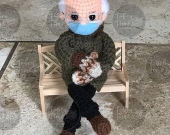 Bernie's Mittens Crochet Doll Pattern PDF Instant Download