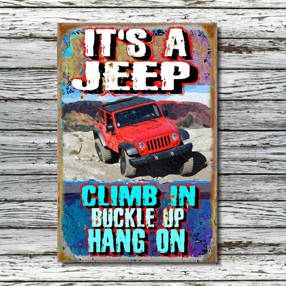 Only In A Jeep Cut Out Wall Art Silhouette Metal Sign 14x14