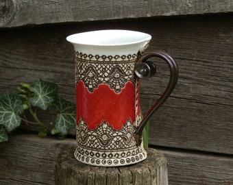 Ceramic Mug, Tea Mug, Red mug, Unique mug, Ceramics and pottery, Tea cup, Coffee cup, Coffee mug, Coffee Gift, Christmas Gift, Housewarming