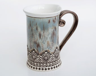 Ceramic Mug, Tea Mug, Housewarming , Ceramics and pottery, Ceramic cup, Tea cup, Coffee mug,  mug, Handmade mug, Unique mug, Blue gray mug
