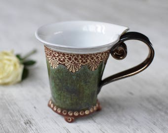 Coffee mug, Tea mug, Green mug, Ceramics and Pottery, Coffee Cup, Unique  Mug,  Handbuilt mug, Handpainted mug,
