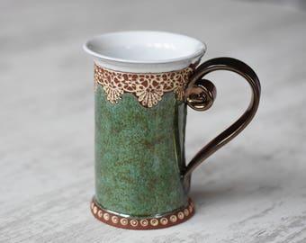 Ceramic Mug, Tea Mug, Handbuilt Mug , Ceramics and pottery, Ceramic cup, Tea cup, Rustic , Coffee mug, Green mug, Handmade mug, Unique mug