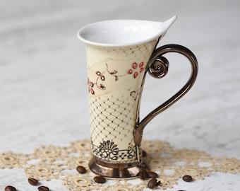 Ceramic Mug, Tea Mug,Handbuilding, Ceramics and pottery, Ceramic cup, Tea cup, Coffee cup, Coffee mug, Handmade mug, Unique mug,