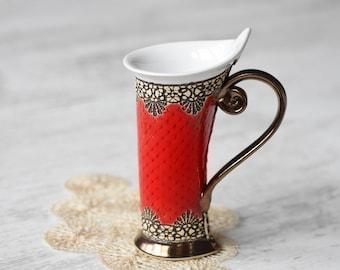 Ceramic Mug, Tea Mug, Red Mug, Unique Mug, ceramics and pottery, pottery mugs, tea cup, coffee cup, coffee mug, ceramic mug handmade, mug