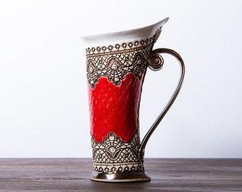 Mug, Ceramic Mug, Tea Mug, Red Mug, Unique Mug, ceramics and pottery, stoneware mug, tea cup, coffee cup, coffee mug, ceramic mug handmade