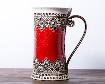 Handmade stoneware mug, red mug, mug, coffee mug, ceramic mug handmade, pottery mug, mugs,unique mug, tea mug, housewarming gift, large mug
