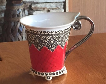 Ceramic Cup, Tea Cup, Handbuilt cup, Ceramics and pottery , Handmade cup, Coffee cup, Red cup, Unique cup, Mug, Housewarming gift, Red mug