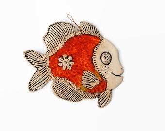Fish, Ceramic fish, Fish tile, Funny fish, Ceramic tile, Red fish, Ceramics and pottery, Handmade fish, Red ceramic fish tile, Pottery fish
