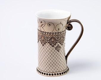 16oz Mug,  Ceramic Mug, Tea Mug, Handbuilding Techniques,  ceramics and pottery, handpainted, teacup, mug, handmade mug, unique coffee mugs
