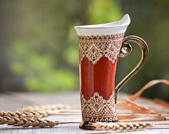 Ceramic Mug, Tea Mug, Red Mug, Unique Mug, Ceramics and Pottery, ceramic cup, tea cup, coffee cup, coffee mug, ceramic mug handmade, mug