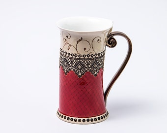 Ceramic Mug, Tea Mug, Coffee mug, Ceramics and pottery, Handmade mug, Stoneware mug, Mugs, Red mug, Coffee mugs, Pottery mug, 15oz Mug, Red