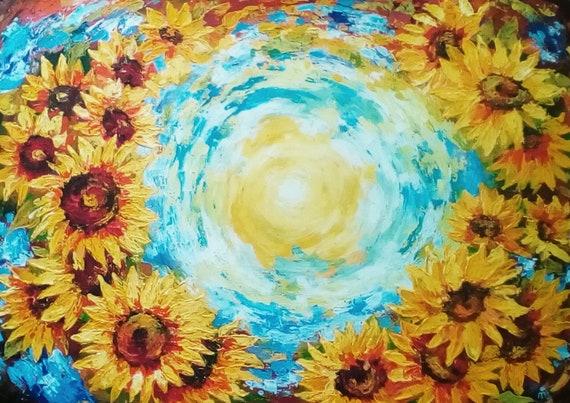 Sonnenblumen Malerei glücklich Wohnkultur strukturierte Blume | Etsy