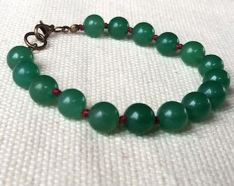 Jade Bracelet, Green Hand Knotted Bracelet, Unique Beaded Bracelet, Natural Stone Jewelry, Green Jade Bracelet, Gift Ideas for Women
