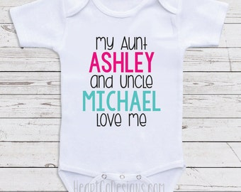 """Custom Baby Clothes, """"My Aunt And Uncle Love Me"""" Personalized Baby Clothes for Boys or Girls- Baby Shower Gifts, Baby Clothes  D35"""