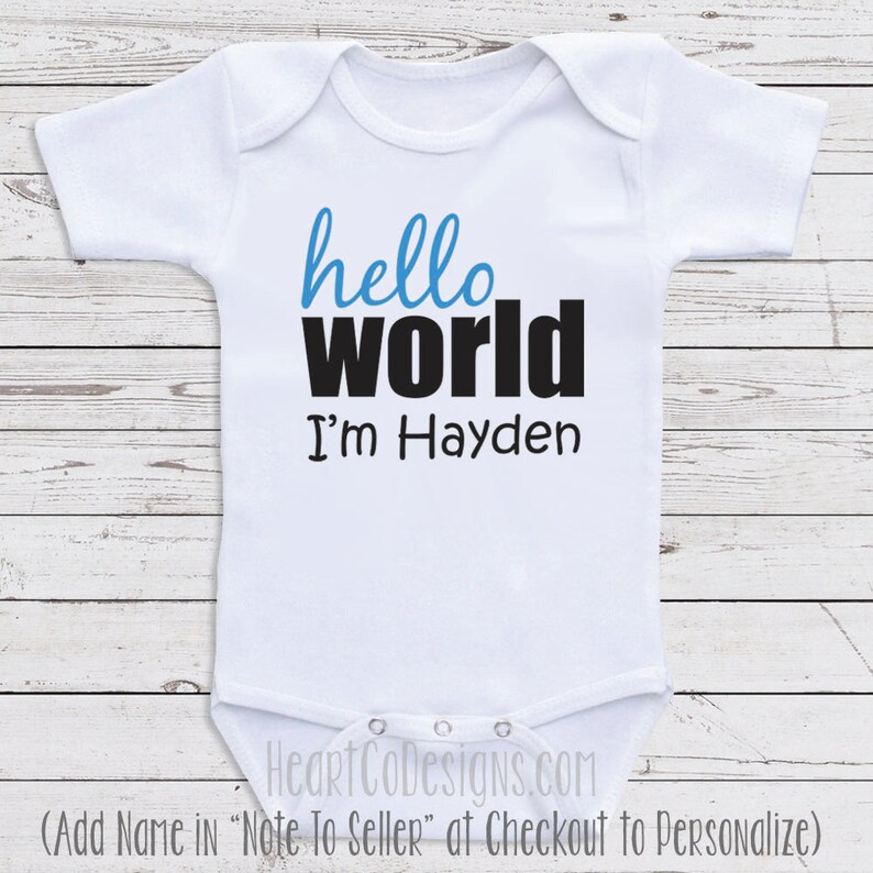 8257267f3089 Personalized Baby Shirts Hello World I'm Cute | Etsy