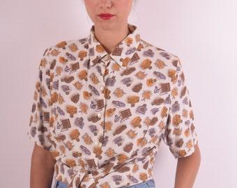 Vintage Shirt Printed with Perfume Bottles (566)