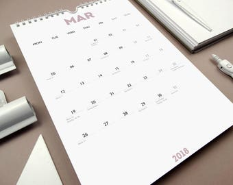 WHITE OUT (Dusky Pink) 2018 Monthly A4 Wall Calendar