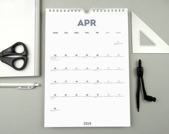 WHITE OUT (Smokey Blue) 2018-2019 Financial Year Monthly A4 Wall Calendar