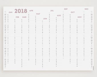 WHITE OUT (Dusky Pink) 2018 Wall Planner