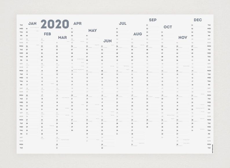 laminiert Schwarz A1 White Out 2020 Wandplaner
