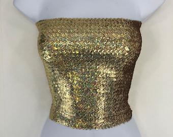 1eba4a0b4f0 Iridescent Gold Sequin Strapless Tube Top