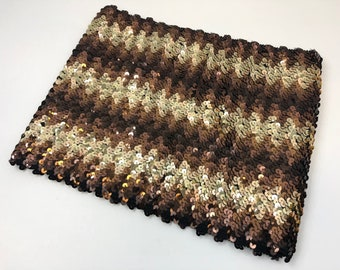 3975f900685 Gold and Brown Chevron Striped Sequin Tube Top