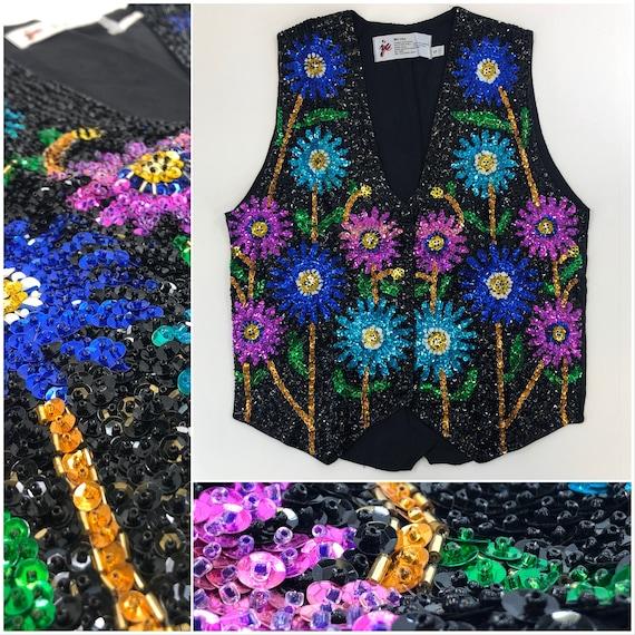 Neon Sunflowers Sequin Vest