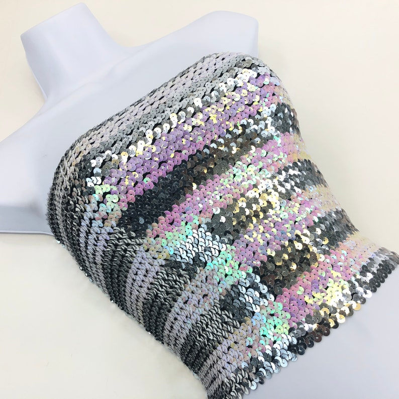Silver and Opal Pink Striped Sequin Strapless Tube Top