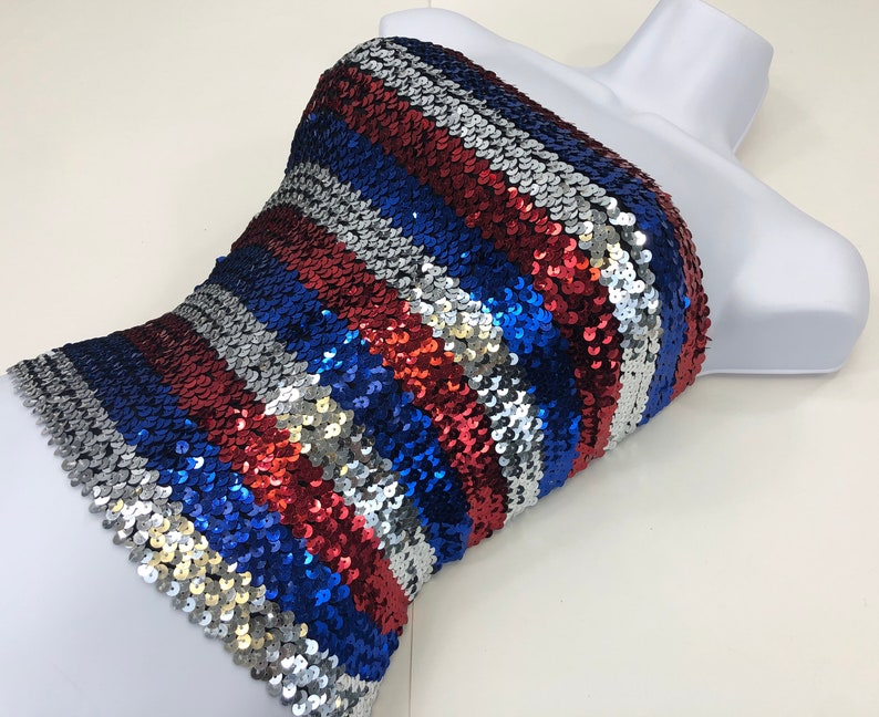 Red and Blue Striped Sequin Tube Top Silver