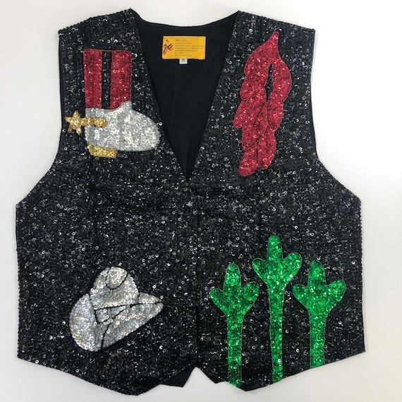 Southwest Sequin Vest - Black Sequin Vest with Boo
