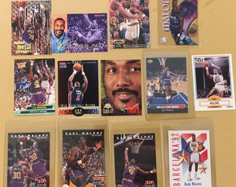 Karl Malone NBA Collectible Cards Lot of 16